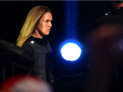 MELBOURNE, AUSTRALIA - NOVEMBER 14: UFC women's bantamweight champion Ronda Rousey of the United States walks to the scale during the UFC 193 weigh-in at Etihad Stadium on November 14, 2015 in Melbourne, Australia. (Photo by Josh Hedges/Zuffa LLC/Zuffa LL