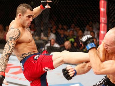 GOIANIA, BRAZIL - NOVEMBER 09: (L-R) Santiago Ponzinibbio kicks Ryan LaFlare in their welterweight bout during the UFC event at Arena Goiania on November 9, 2013 in Goiania, Brazil. (Photo by Josh Hedges/Zuffa LLC/Zuffa LLC via Getty Images)