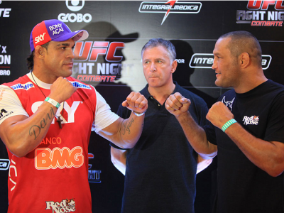 GOIANIA, BRAZIL - NOVEMBER 7: (L-R) Opponents Vitor Belfort and Dan Henderson face off during UFC Fight Night open workout at Buena Vista Shopping on November 7, 2013 in Goiania, Brazil.  (Photo by Weimer Carvalho/Zuffa LLC/Zuffa LLC via Getty Images)