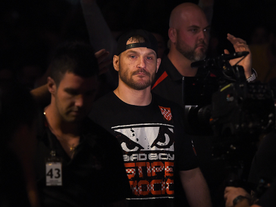 ADELAIDE, AUSTRALIA - MAY 10:   Stipe Miocic prepares to enter the Octagon before facing Mark Hunt in their heavyweight bout during the UFC Fight Night event at the Adelaide Entertainment Centre on May 10, 2015 in Adelaide, Australia. (Photo by Josh Hedge