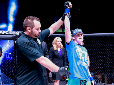 Tonya Evinger is announced as winner of her bout against Ediane Gomez at Invicta FC 8. (Photo by Ester Lin/Zuffa LLC/Zuffa LLC via Getty Images)