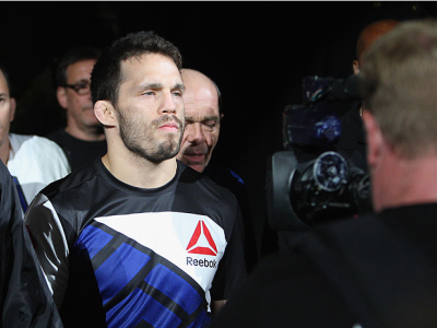 LAS VEGAS, NV - JULY 12:  Jake Ellenberger walks to the Octagon to face Stephen Thompson in their welterweight bout during the Ultimate Fighter Finale inside MGM Grand Garden Arena on July 12, 2015 in Las Vegas, Nevada.  (Photo by Mitch Viquez/Zuffa LLC/Z