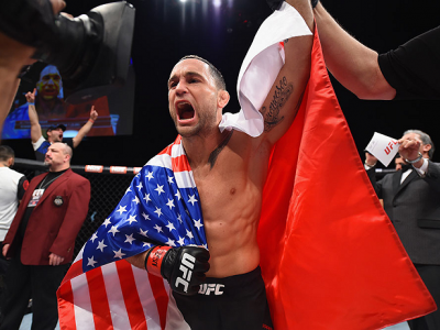 LAS VEGAS, NV - DECEMBER 11: Frankie Edgar reacts to his victory over Chad Mendes in their featherweight bout during the TUF Finale event inside The Chelsea at The Cosmopolitan of Las Vegas on December 11, 2015 in Las Vegas, Nevada.  (Photo by Jeff Bottar