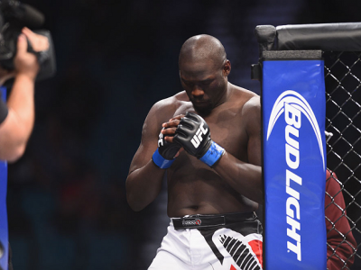 LAS VEGAS, NV - JANUARY 03:  Jared Cannonier enters the Octagon in his heavyweight bout against Shawn Jordan during the UFC 182 event at the MGM Grand Garden Arena on January 3, 2015 in Las Vegas, Nevada.  (Photo by Jeff Bottari/Zuffa LLC/Zuffa LLC via Ge
