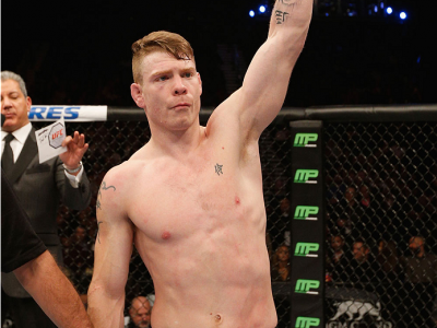 LAS VEGAS, NV - JANUARY 03:  Paul Felder celebrates his win over Danny Castillo in their lightweight bout during the UFC 182 event at the MGM Grand Garden Arena on January 3, 2015 in Las Vegas, Nevada.  (Photo by Josh Hedges/Zuffa LLC/Zuffa LLC via Getty