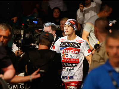 LAS VEGAS, NV - MAY 23:  Dong Hyun Kim walks to the Octagon to face Josh Burkman in their welterweight bout during the UFC 187 event at the MGM Grand Garden Arena on May 23, 2015 in Las Vegas, Nevada.  (Photo by Christian Petersen/Zuffa LLC/Zuffa LLC via