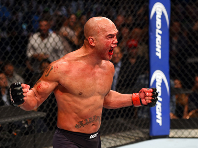 LAS VEGAS, NV - JULY 11:  Robbie Lawler reacts to his victory over Rory MacDonald in their UFC welterweight title fight during the UFC 189 event inside MGM Grand Garden Arena on July 11, 2015 in Las Vegas, Nevada.  (Photo by Josh Hedges/Zuffa LLC/Zuffa LL
