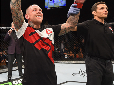 LAS VEGAS, NV - SEPTEMBER 05: Ross Pearson reacts to his victory over Paul Felder in their lightweight bout during the UFC 191 event inside MGM Grand Garden Arena on September 5, 2015 in Las Vegas, Nevada.  (Photo by Josh Hedges/Zuffa LLC/Zuffa LLC via Ge