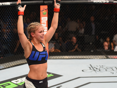 LAS VEGAS, NV - SEPTEMBER 05:  Paige VanZant reacts to her victory over Alex Chambers in their women's strawweight bout during the UFC 191 event inside MGM Grand Garden Arena on September 5, 2015 in Las Vegas, Nevada.  (Photo by Josh Hedges/Zuffa LLC/Zuff