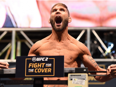 LAS VEGAS, NV - DECEMBER 11:   Jeremy Stephens weighs in during the UFC 194 weigh-in inside MGM Grand Garden Arena on December 10, 2015 in Las Vegas, Nevada.  (Photo by Josh Hedges/Zuffa LLC/Zuffa LLC via Getty Images)