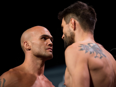 LAS VEGAS, NEVADA - JANUARY 01:  (L-R) UFC welterweight champion Robbie Lawler and Carlos Condit face off during the UFC 195 weigh-ins at the MGM Grand Hotel/Casino on January 1, 2016 in Las Vegas Nevada. (Photo by Brandon Magnus/Zuffa LLC/Zuffa LLC via G