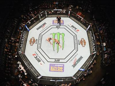 LAS VEGAS, NV - MARCH 05: An overhead view of the Octagon as Diego Sanchez punches Jim Miller in their lightweight bout during the UFC 196 event inside MGM Grand Garden Arena on March 5, 2016 in Las Vegas, Nevada.  (Photo by Josh Hedges/Zuffa LLC/Zuffa LL