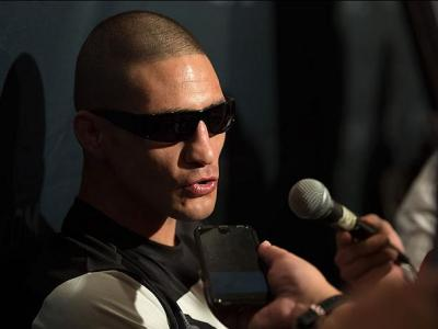 LAS VEGAS, NV - MARCH 3:   Diego Sanchez speaks to the media during the UFC 196 Ultimate Media Day in the MGM Grand Hotel/Casino on March 3, 2016 in Las Vegas, Nevada. (Photo by Brandon Magnus/Zuffa LLC/Zuffa LLC via Getty Images)