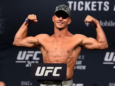LAS VEGAS, NV - AUGUST 19:   Donald 'Cowboy' Cerrone poses on the scale during the UFC 202 weigh-in at the MGM Grand Hotel & Casino on August 19, 2016 in Las Vegas, Nevada. (Photo by Josh Hedges/Zuffa LLC/Zuffa LLC via Getty Images)