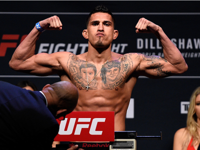 BOSTON, MA - JANUARY 16:  Anthony Pettis weighs in during the UFC weigh-in at the Wang Theatre on January 16, 2016 in Boston, Massachusetts. (Photo by Jeff Bottari/Zuffa LLC/Zuffa LLC via Getty Images)