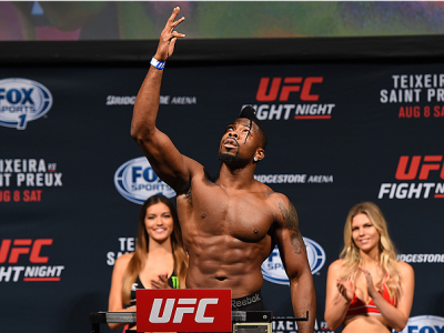 NASHVILLE, TN - AUGUST 07:  Oluwale Bamgbose steps on the scale during the UFC weigh-in at Bridgestone Arena on August 7, 2015 in Nashville, Tennessee.  (Photo by Josh Hedges/Zuffa LLC/Zuffa LLC via Getty Images)