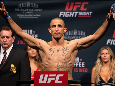 SAN DIEGO, CA - JULY 14:  Yaotzin Meza steps on the scale during the UFC weigh-in at the Valley View Casino Center on July 14, 2015 in San Diego, California. (Photo by Jeff Bottari/Zuffa LLC/Zuffa LLC via Getty Images)