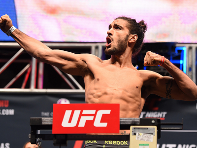 LAS VEGAS, NV - DECEMBER 09:  Elias Theodorou of Canada weighs in during the UFC Fight Night weigh-in inside MGM Grand Garden Arena on December 9, 2015 in Las Vegas, Nevada.  (Photo by Josh Hedges/Zuffa LLC/Zuffa LLC via Getty Images)