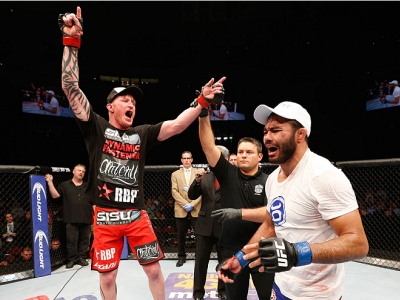 CINCINNATI, OH - MAY 10:  Ed Herman (L) and Rafael Natal (R) react after the announcement of the decision after their middleweight fight during the UFC Fight Night event at the U.S. Bank Arena on May 10, 2014 in Cincinnati, Ohio. (Photo by Josh Hedges/Zuf