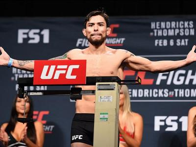 LAS VEGAS, NV - FEBRUARY 05:  Ray Borg steps on the scale during the UFC Fight Night weigh-in at the MGM Grand Conference Center on February 5, 2016 in Las Vegas, Nevada. (Photo by Josh Hedges/Zuffa LLC/Zuffa LLC via Getty Images)