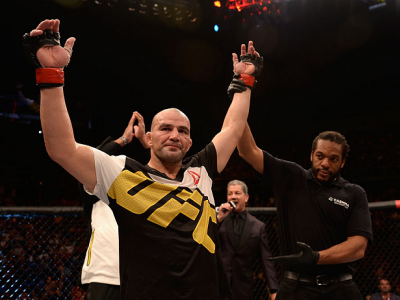 SAO PAULO, BRAZIL - NOVEMBER 07:  Glover Teixeira of Brazil celebrates victory over Patrick Cummins of the United States in their light heavyweight bout during the UFC Fight Night Belfort v Henderson at Ibirapuera Gymnasium on November 7, 2015 in Sao Paul