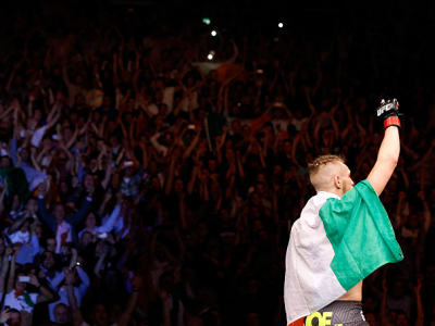 DUBLIN, IRELAND - JULY 19:  Conor McGregor celebrates after his TKO victory over Diego Brandao in their featherweight bout during the UFC Fight Night event at The O2 Dublin on July 19, 2014 in Dublin, Ireland.  (Photo by Josh Hedges/Zuffa LLC/Zuffa LLC vi