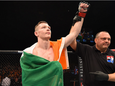GLASGOW, SCOTLAND - JULY 18:  Joe Duffy of Ireland reacts after his submission victory over Ivan Jorge of Brazil in their lightweight fight during the UFC Fight Night event inside the SSE Hydro on July 18, 2015 in Glasgow, Scotland.  (Photo by Josh Hedges