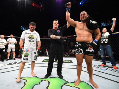 KRAKOW, POLAND - APRIL 11:  Anthony Hamilton of the United States celebrates after his decision victory over Daniel Omielanczuk of Poland in their heavyweight fight during the UFC Fight Night event at the Tauron Arena on April 11, 2015 in Krakow, Poland.
