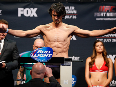 SAN JOSE, CA - JULY 25:  Akbarh Arreola stands on the scale during the UFC fight night weigh-in at the SAP Center on July 25, 2014 in San Jose, California.  (Photo by Josh Hedges/Zuffa LLC/Zuffa LLC via Getty Images)